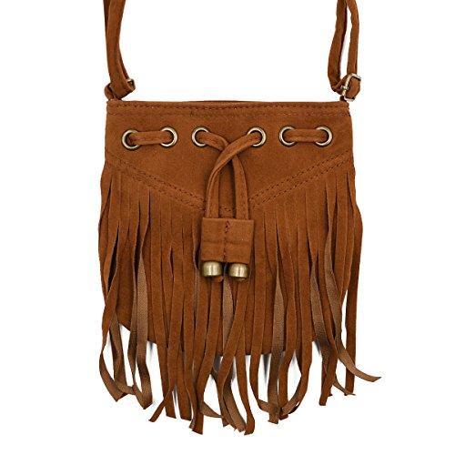 Brown Suede Fringe Crossbody Bag - 9