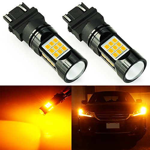(JDM ASTAR 2600 Lumens Extremely Bright PX Chips 3056 3156 3057 3157 4057 4157 LED Bulbs with Projector, Amber Yellow)