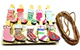 QTMY 20 Pcs Christmas Stocking Wooden Clip Hanging Photos with Twine Decoration Supplies Favors