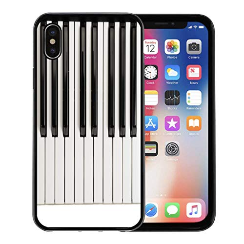 (Semtomn Phone Case for Apple iPhone Xs case,Music Piano Keys Vintage Acoustic Black Chord Classic for iPhone X Case,Rubber Border Protective Case,Black)