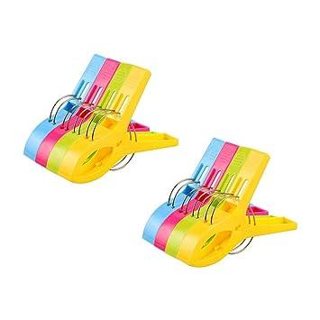 Vicloon 8Pcs Pinzas de Toalla de Playa Grande Fuerte Clips Plástico,Resistente Clips Brillante Color Pinza de la Ropa,Resistentes al Viento,para la Ropa ...