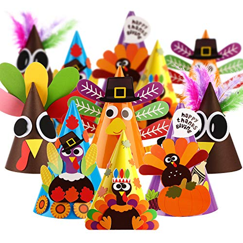 Paper Pilgrim Hat (12 Pieces Thanksgiving Hats Crafts Kit Turkey Party Paper Hats DIY Party Activity Hats with Stickers Fun Celebration Kit for Thanksgiving Party Game)