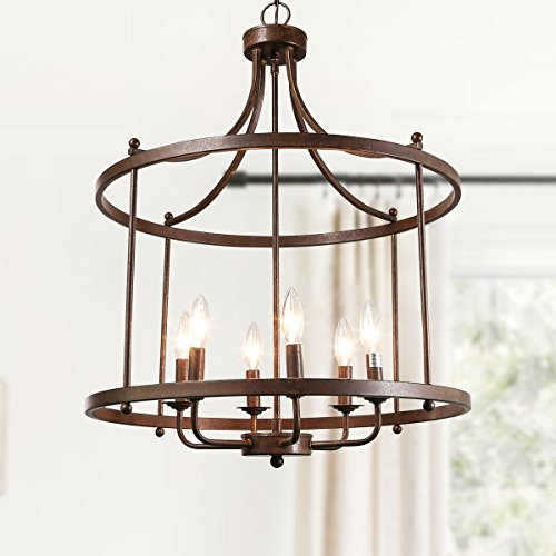"LOG BARN 6 Lights Transitional Island Pendant Drum Lightening Chandelier in Antique Bronze Finish, 21.6"" Foyer Light Fixture, A03252"
