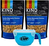 Kind Healthy Super Grains, Vanilla Blueberry with Flax Seeds Gluten Free, 100% Whole Grains, Non GMO – 11 Ounce Bags (Pack of 2) – with By The Cup Healthy Snacks Pack with Cereal Bowl Review
