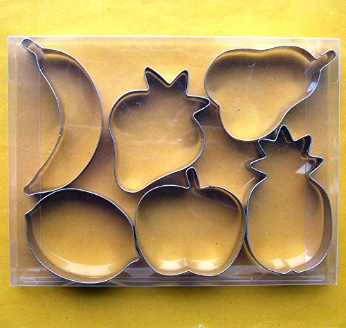LAWMAN Fruit strawberry apple pear pineapple banana lemon fondant pastry baking cookie cutter 6pcs set - Pear Strawberry Fruit