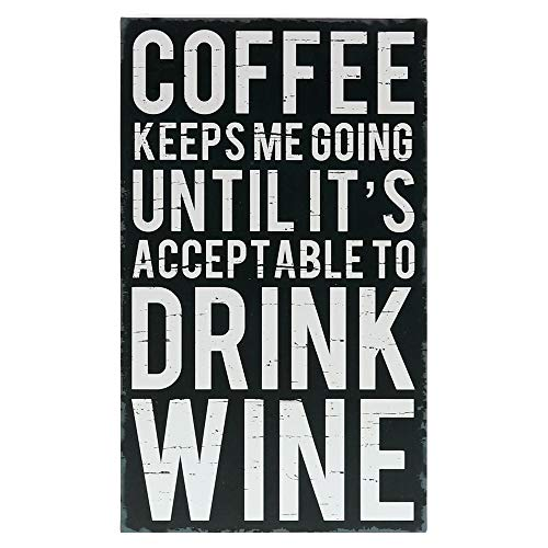 """Barnyard Designs Coffee Keeps Me Going Until It's Acceptable to Drink Wine Box Wall Art Sign Primitive Country Home Decor Sign with Sayings 12"""" x 7"""""""