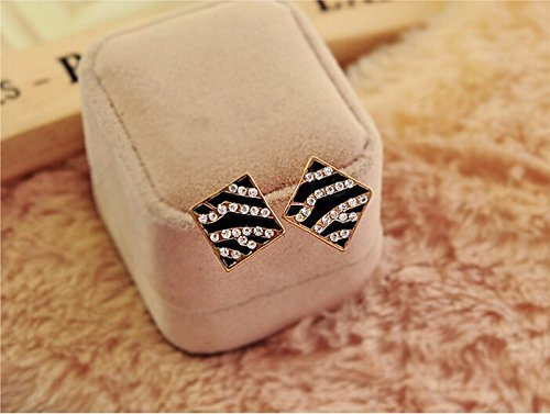 JD Million shop New Hot !! Upscale Fashion Jewelry Wholesale Rhinestones Black Sexy Square Zebra Leopard Drip Stud Earrings For Women - Fashion Square Wholesale