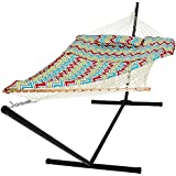 Cotton Multicolor Rope Hammock And Stand Combo W/ Pad Pillow