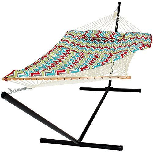 Cotton Multicolor Rope Hammock And Stand Combo W/ Pad Pillow by BEC