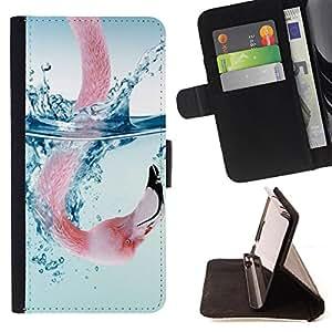 Dragon Case- Caja de la carpeta del caso en folio de cuero del tir¨®n de la cubierta protectora Shell FOR Sony Xperia m55w Z3 Compact Mini- Swan Cute