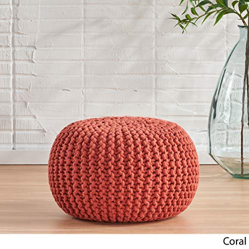 Christopher Knight Home Poona Hand Knitted Artisan Round Pouf (Coral)