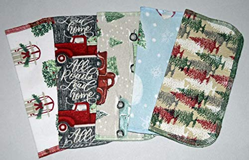 1 Ply Holiday Joy Washable Napkins 8x8 inches 5 Pack - Little Wipes (R) Flannel (Washcloth Holiday)