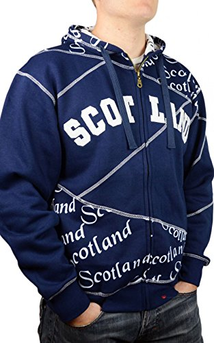 Zip Top Scotland Scroll White Lettering Fashion Hoodie Top Navy Size Small