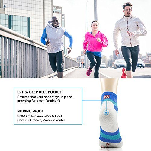 Running Socks, ZEALWOOD Merino Wool Low Cut Cycling Socks for Men and Women,Women Christmas Gifts Christmas Socks Unisex Breathable Sport Socks-Blue/White,Small, 3 Pairs by ZEALWOOD (Image #8)