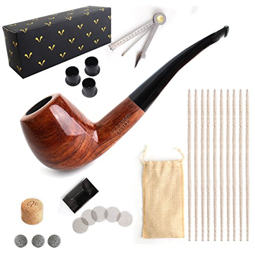 Blackwolf Tobacco Smoking Pipe, Bent Rosewood Handmade Pipes with Accessories (Pipe Cleaners, 3-in-1 Pipe Scraper, Filter Balls, Pipe Screen Filters, Pipe Tip Grips, Cork Knockers)