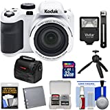 KODAK PIXPRO AZ421 Astro Zoom Digital Camera (White) with 32GB Card + Battery + Case + Flash + Tripod + Kit