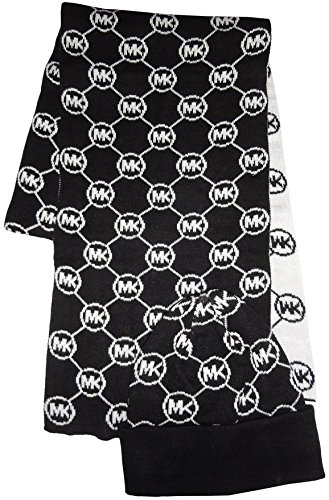 Michael Kors Women's Circle Logo Knit Scarf & Beanie Hat Set (BLACK/WHITE) -