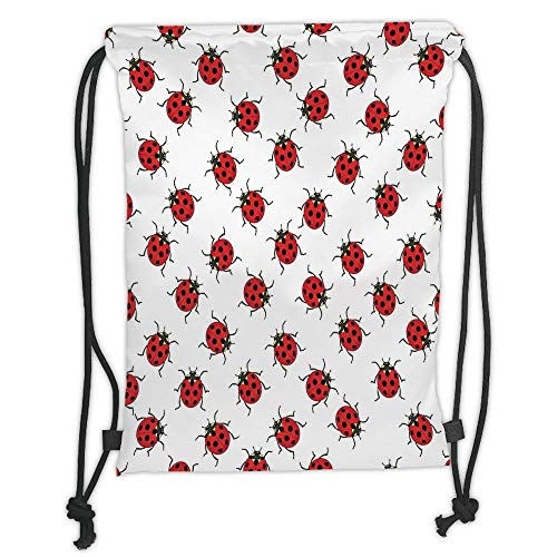 New Fashion Gym Drawstring Backpacks Bags,Ladybugs,Ladybugs Pattern Bunch of Bugs Infinite Speckled Marked Insect Theme Playroom Kids,Red White Soft Satin,Adjustable String Closur]()