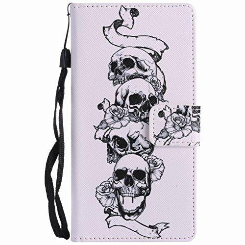 Yiizy Sony Xperia XZ Custodia Cover, Cranio Design Sottile Flip Portafoglio PU Pelle Cuoio Copertura Shell Case Slot Schede Cavalletto Stile Libro Bumper Protettivo Borsa