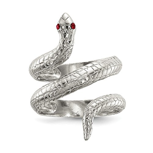 Size 7 Solid 925 Sterling Silver Crystal Snake Ring ()