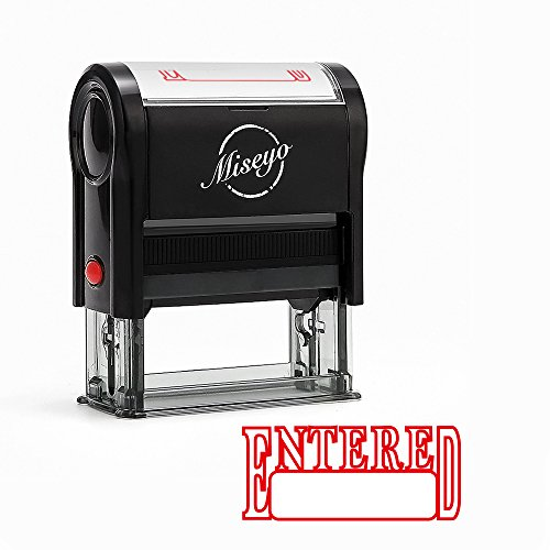 Miseyo Entered Self Inking Rubber Stamp - Red Ink -