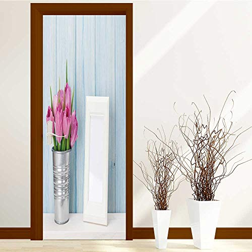 SCOCICI1588 Waterproof Door Stickers fresh pink tulip flowers bouquet and blank photo frame with copy for Home Living Room W23.6 x H78.7 ()