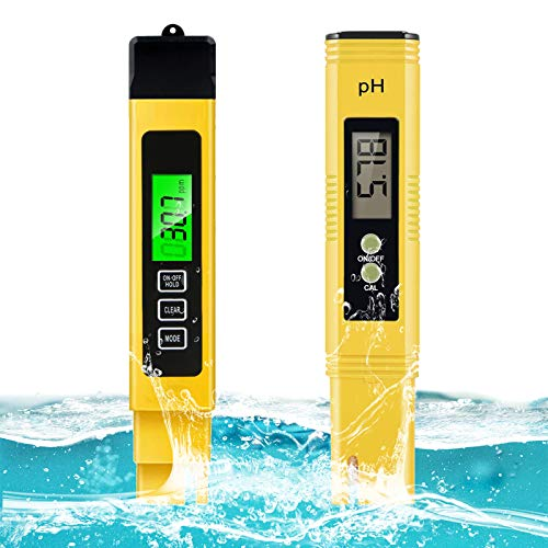Spurtar 2Pcs Water Quality Test Meter TDS PH EC Temperature 4 in 1 Set High Accuracy Measurement Range, Auto Calibration Ideal kit for Hydroponics, Aquariums, Drinking Water, Ro System, Pool...