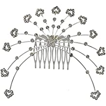 Crystal Bridal Hair Comb Clear hearts Evening Silver Tone