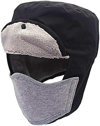 Unisex Windproof Faux Fur Lined Winter Hat Warm Russian Trapper Hats