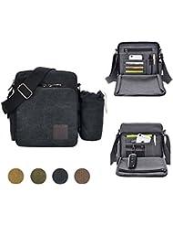 GuiShi(TM) Multifunctional Canvas Small Messenger Bag Casual Shoulder Bag Travel Organizer Multi-pocket Purse Handbag Crossbody Bags