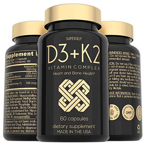 Vitamin D3 K2 Capsules - Vitamin D3 5000 IU and Vitamin K MK7 100mcg - 60 Capsules - USA Made Vegetarian Vitamin D Supplement - High Strength VIT D for Bones, Muscle, Teeth, Immune System