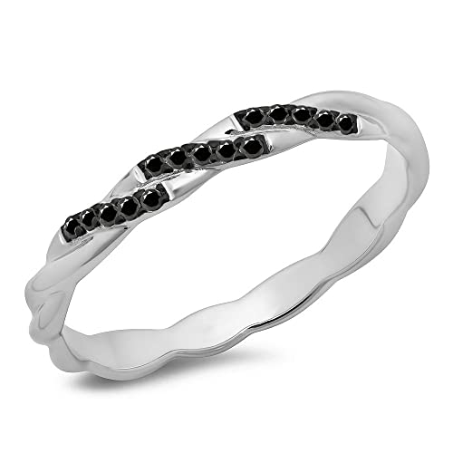 DazzlingRock Collection (CTW 14K Oro Corte Redondo Diamante Negro Remolino Alianza Anillo de Boda Anillo