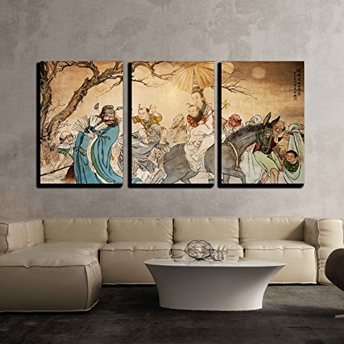 (wall26 - 3 Piece Canvas Wall Art - Traditional Oriental Watercolor Ink Art - Modern Home Decor Stretched and Framed Ready to Hang - 24