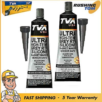 2 RTV Grey Silicone Ultra High Temperature Water Oil Resistant Fast Drying Gasket Maker Sensor Safe Sealant Water Oil Resist -40°F to 650°F Use on Metal, Glass, Rubber 3.0oz 85g ()