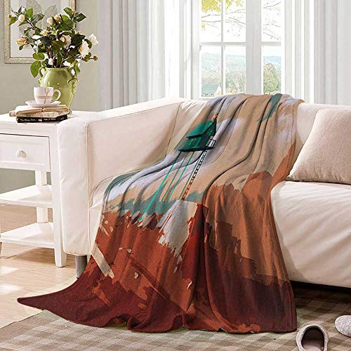 Anhuthree Fantasy Super Soft Lightweight Blanket Little Wood House on Stone Hill with Robot on The Cloudy Roof Calming Artwork Print Summer Quilt Comforter 62''x60'' Tan Green by Anhuthree (Image #1)