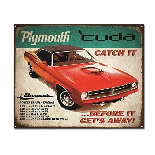 WDRN Plymouth Cuda Catch It Before It Gets Away Vintage Retro Car Auto Tin Sign Metal Sign TIN Sign 7.8X11.8 INCH