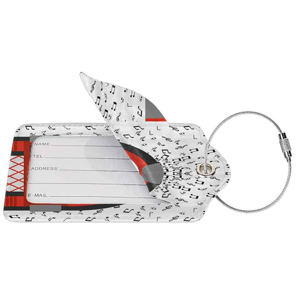 Durable luggage tag Jukebox Cartoon Party Music Antique Old Vintage Retro Box with Notes Artwork Unisex Red Black Grey and White W2.7 x L4.6