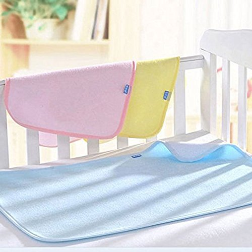 CdyBox Kid Baby Bamboo Fiber Waterproof Diaper Changing Pad in Vibrant Color for Home and Travel S M L (M, Pink)