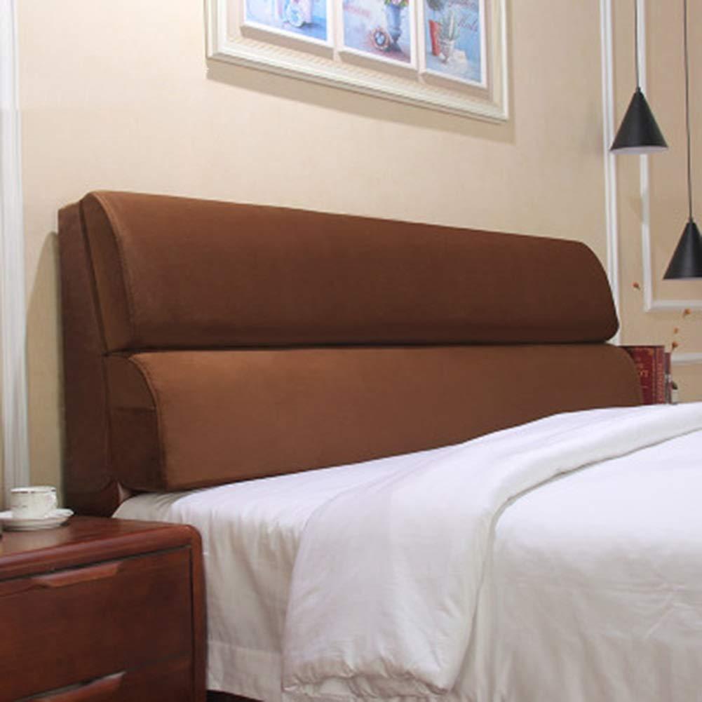 LIANGLIANG クッションベッドの背もたれ洗濯可能なベッドルームのベッドサイドの枕ダブルの人々余分なラージベッドの背もたれのクッション布、5色、6サイズ (色 : Brown, サイズ さいず : 120x55x12cm) 120x55x12cm Brown B07KTB46FK