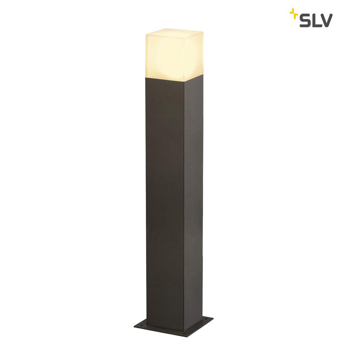 SLV LED Pollerleuchte GRAFIT 60   Design Standleuchte zur individuellen Außen-Beleuchtung in Rauchglas-Optik   Outdoor Wege-Leuchte, Sockellampe, Garten-Beleuchtung, Garten-Lampe   E27, max 11W, A-A++