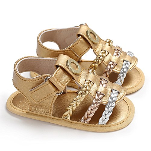 Ocamo Baby Girl Shoes Summer Soft Sole Fashion Woven Sandals Gold