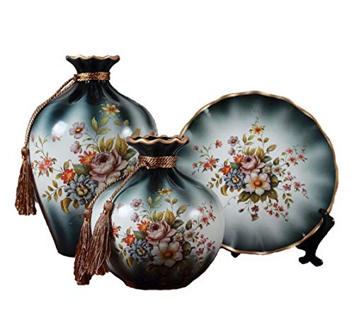 (YJF Retro Classic Ceramic Vase Set of 3 Pieces Chinese Vases for Home Decor Ornaments)