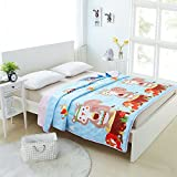 Enjoylife 1-Piece Soft Thin Quilt Washable Full Cotton Summer Comforter Animal Printing Pattern Squirrel BEDSPREADS&Blanket 200x230cm = 79''x90''