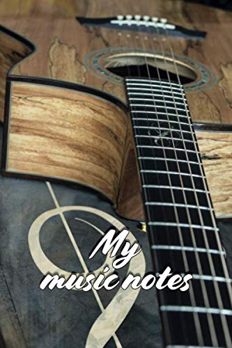 MY MUSIC NOTES BLANK SHEET MUSIC NOTEBOOK: 120 PAGES 6x9 INCH BLANK SHEET MUSIC WITH STAFF WITH GUITAR COVER MANUSCRIPT PAPER PERFECT PRESENT IDEA FOR SONGWRITERS FOR BIRTHDAY AND CHRISTMAS (Play Outline Christmas)
