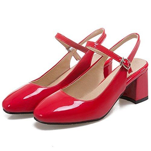 FANIMILA Mujer Moda Correa de Tobillo Open Back Sandalias Cerrado Tacon Ancho Zapatos Rojo
