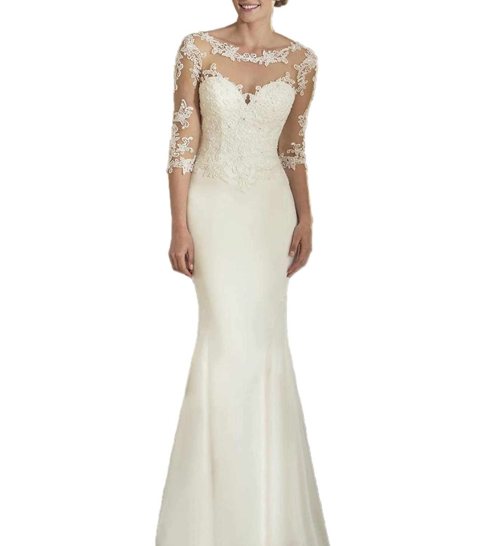 Prettywedding Lace Applique Sweetheart Mermaid 3/4 Sleeve Wedding Dress