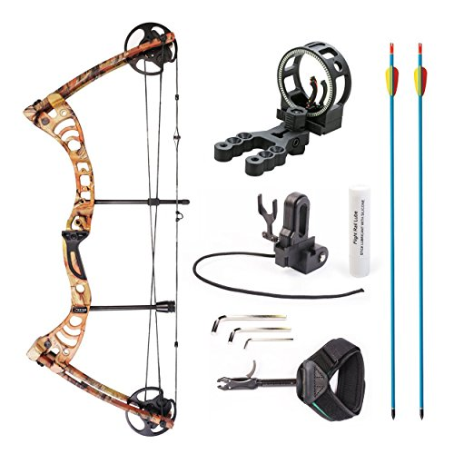 "XGear Outdoors Compound Bow 30-55lbs 19""-29"" with Max Speed 296fps, Right Handed, Autumn Camo with Accessories"
