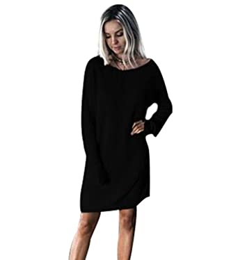 d37d7434ba NiSeng Womens Knitted Dress Oversized Jumper Dress Long Sleeve Tops Plus  Size Sweater Pullover Dress  Amazon.co.uk  Clothing