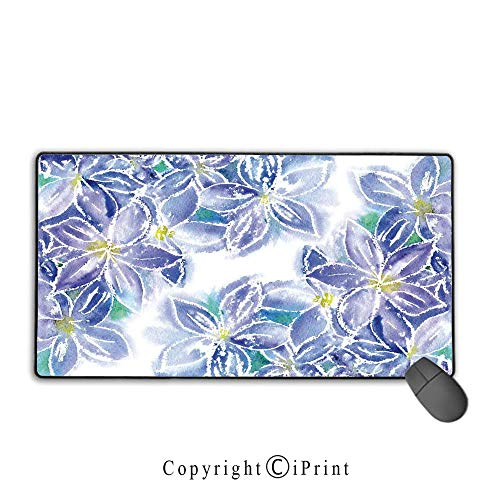 Extended Gaming Mouse pad with Stitched Edges,Watercolor Flower House Decor,Spring Season Blossoms Mother Earth Petals Bouquet Design,Blue Yellow, Suitable for Offices and Homes,9.8
