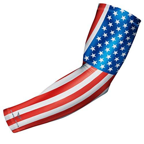 - bucwild USA Flag Sports Compression Arm Sleeve - Youth & Adult Sizes - Baseball Football Basketball Golf Sports (1 Sleeve - Youth Medium)